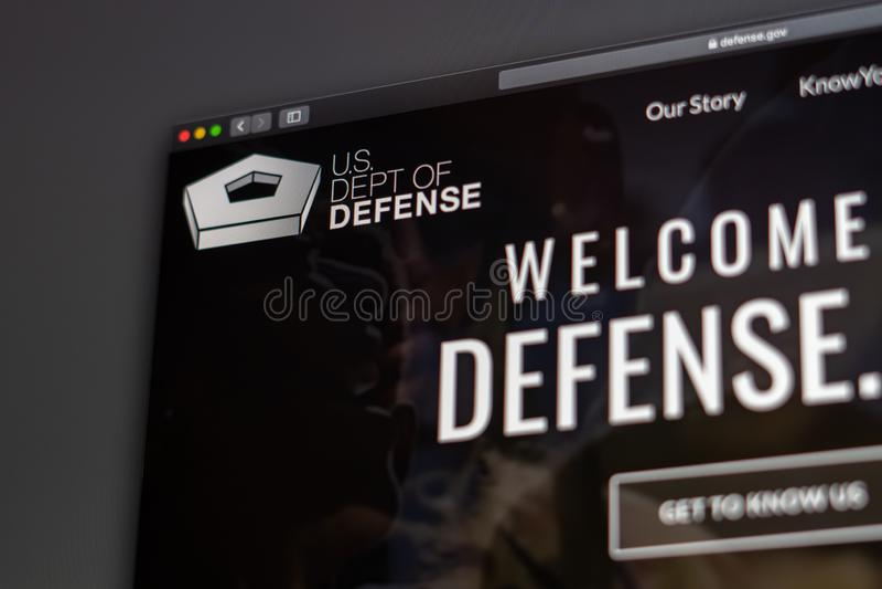 US Dept of Defense website homepage. Close up of Pentagon logo. Miami / USA - 05.11.2019: US Dept of Defense website homepage. Close up of Pentagon logo. Can be royalty free stock photography
