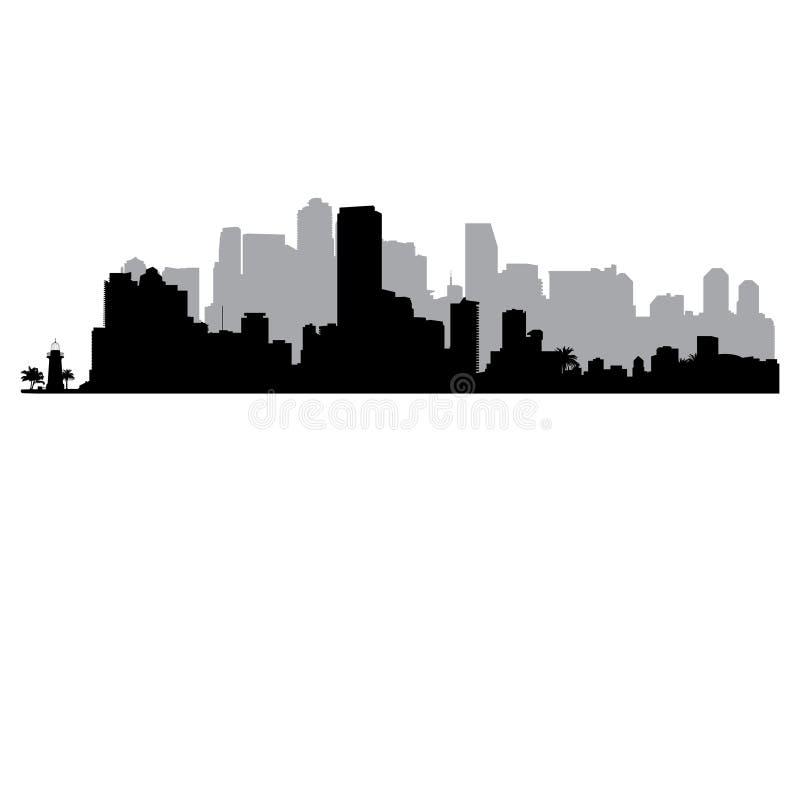 Miami vector Skyline royalty free illustration
