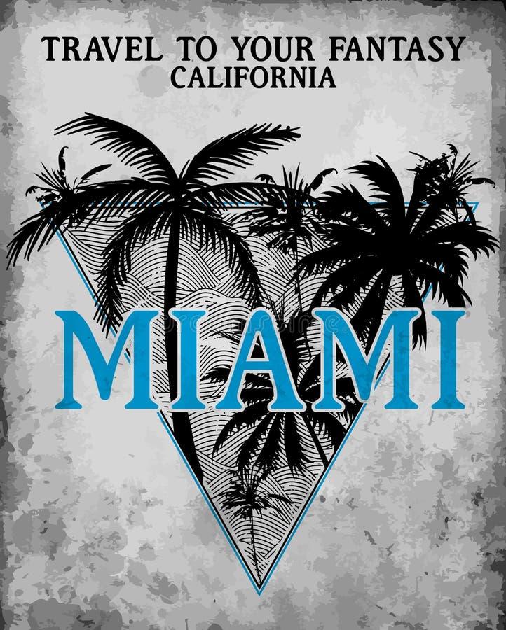 Miami - vektorillustrationbegrepp i grafisk stil för tappning för stock illustrationer