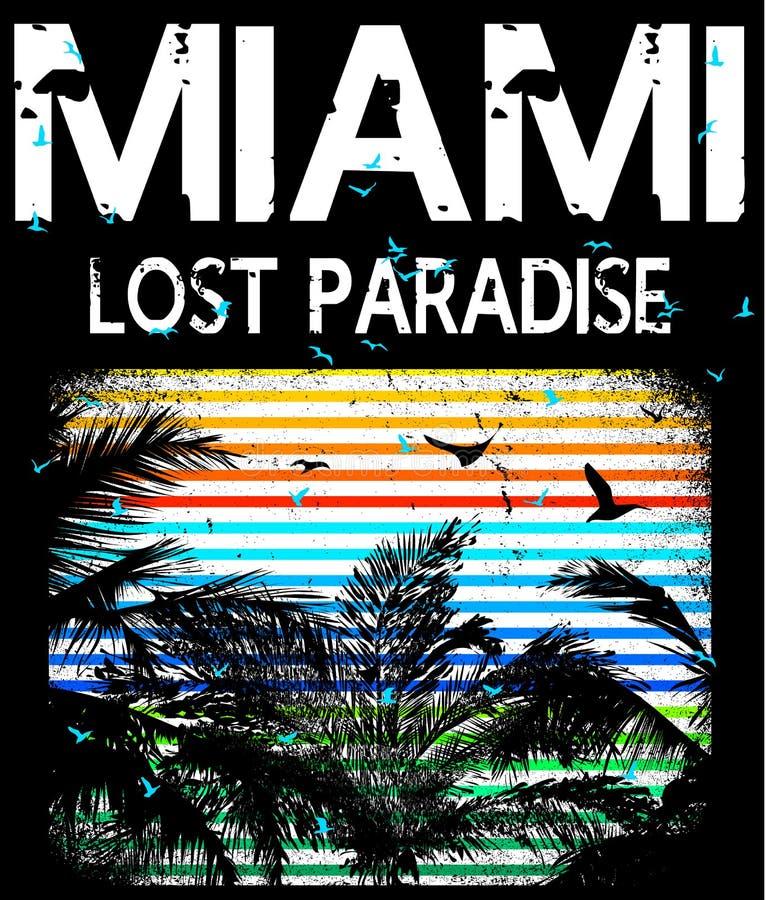 Miami - vektorillustrationbegrepp i grafisk stil för tappning för royaltyfri illustrationer