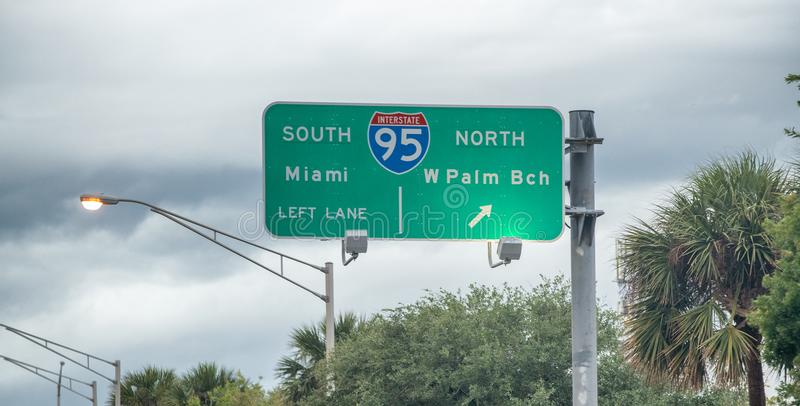 Miami - West Palm Beach interstate signs.  royalty free stock photography