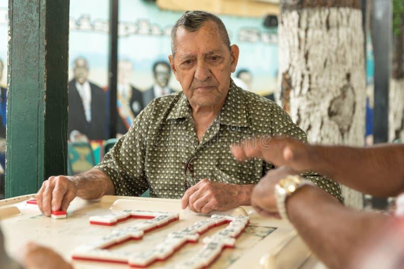 MIAMIA, LA FLORIDE - 29 AVRIL 2015 : Peu de secteur de La Havane à Miami et les gens jouant le domino en Maximo Gomez Park Domino images stock