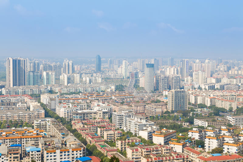 Mianyang stadspanorama arkivbild