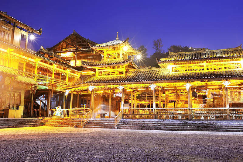 Download Miao Minority Wooden Building Royalty Free Stock Photography - Image: 27458397