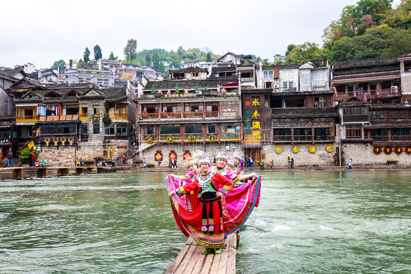 Miao nationality woman. In fenghuang old town ,hunan ,china stock photo
