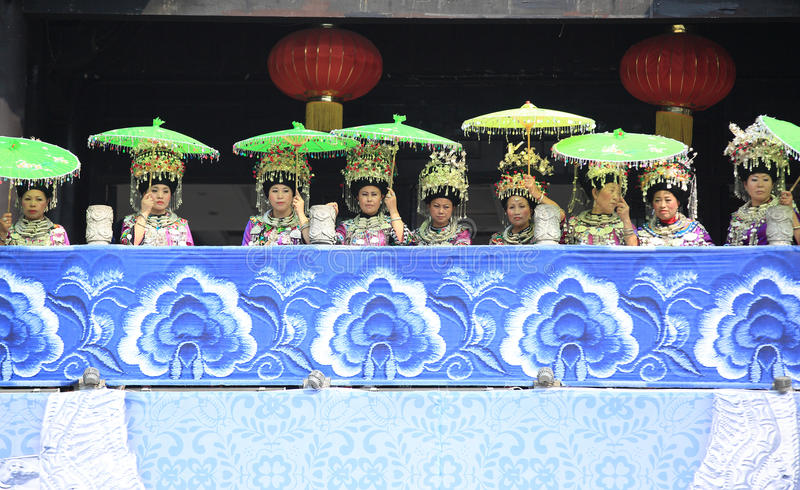 Miao nationality women. Wearing silver accessories on their hair and clothes to celebrate the local festival at fenghuang ancient town,china oct,13,2013 royalty free stock photos