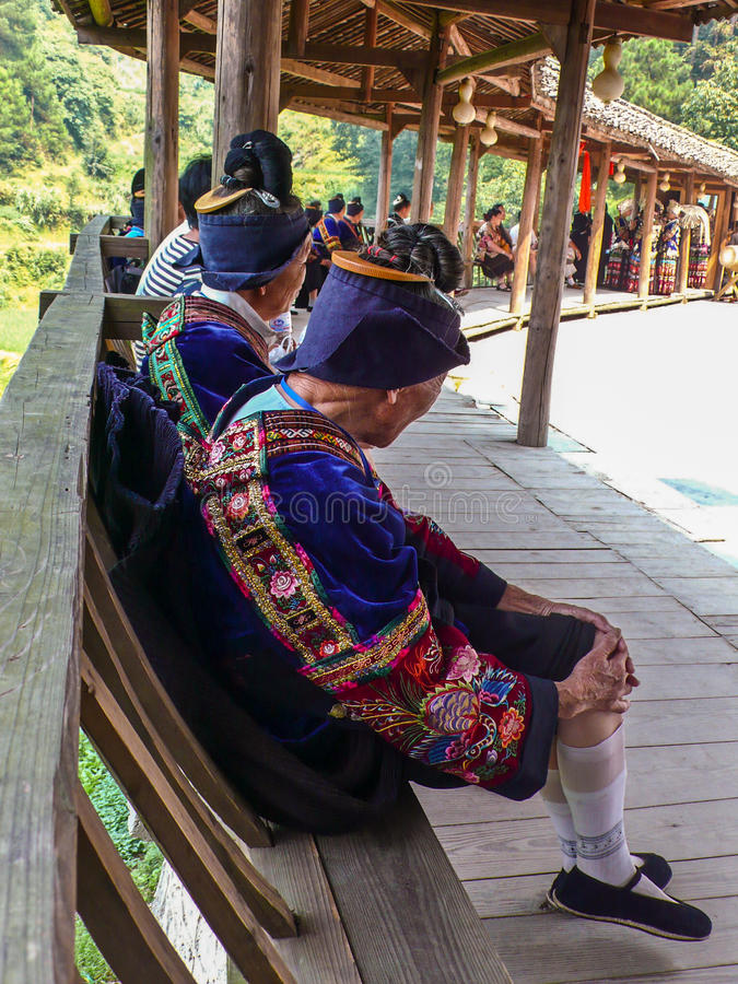 Miao old people dress. Miao Village, Guizhou, China, is preparing to perform the costumes of the Hmong elderly royalty free stock images
