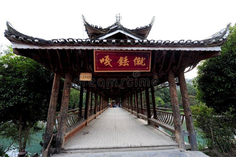 Miao Village Bridge. Antique wooden- bridge royalty free stock images