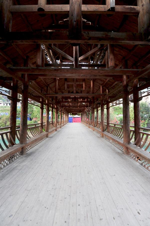 Miao Village Bridge. Antique wooden- bridge stock images