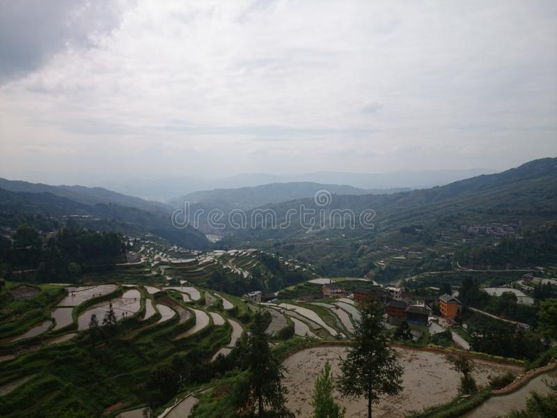 miao village and terrace stock photo