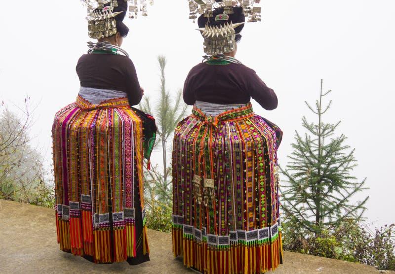 The Miao women pheasant Dance Costume. Miao women pheasant Dance Costume is many color of feather embroidery thread, like beautiful golden pheasant. 12.11.2016 stock photo