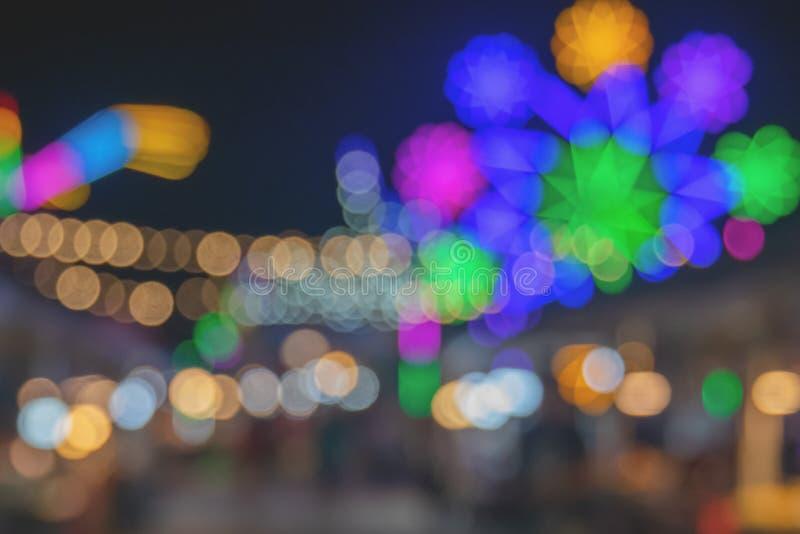 Miaohui of de lokale Abstracte Achtergrond van tempel eerlijke Lichten bokeh - Nachtstad met kleurrijke lichte binnen Samenvattin royalty-vrije stock foto's