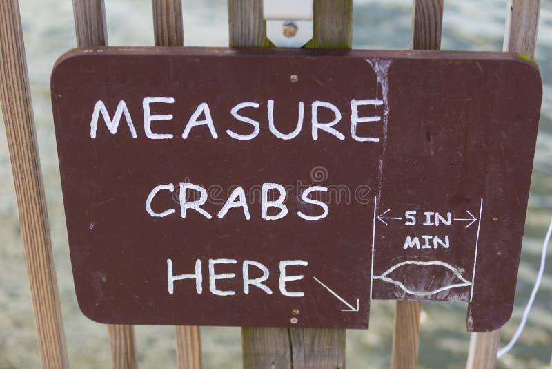 Miara kraba znaka tutaj fotografia stock