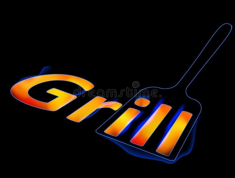Miarka dla piec na grillu z płonącym słowo grilla grilla logem, menu, royalty ilustracja