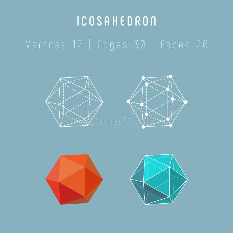 Miarowego wielościanu icosahedron ilustracja wektor