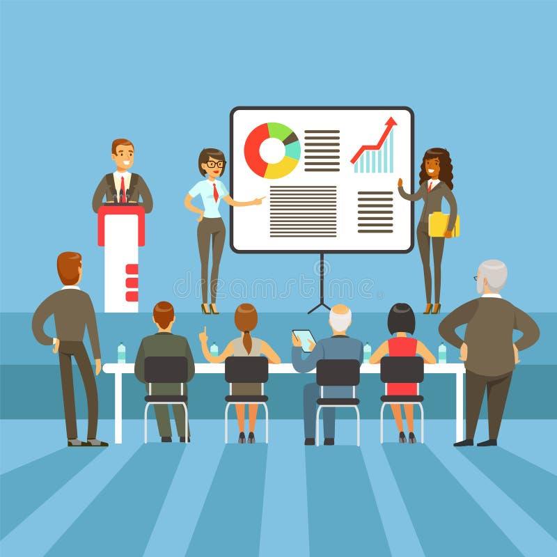 Miarowi Biznesowi rezultaty, osiągnięcie prezentacja Z Ewidencyjnymi materiałami I grafika mapy Z Ważnymi udziałowami ilustracja wektor