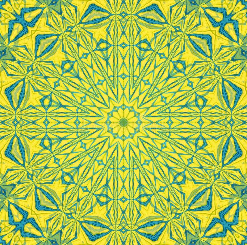 Miarowy round symmetric ornament w gwiazdowego kształta bławym mlecznozielonym kolorze żółtym ześrodkowywającym royalty ilustracja