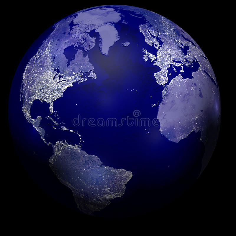 Miast światła na planety ziemi ilustracji
