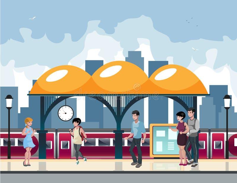 Miast ludzie czekają metro usługa ilustracja wektor