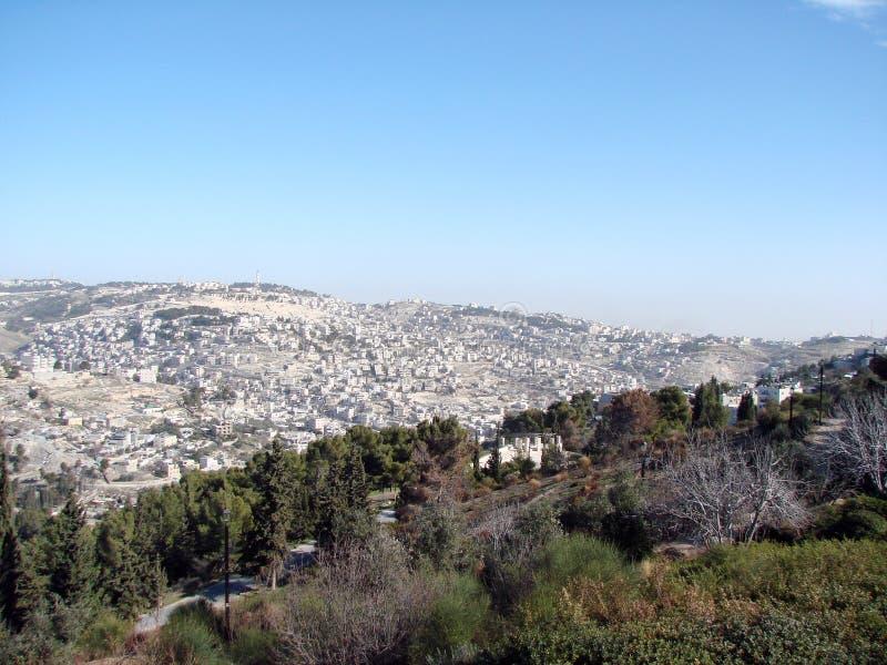 Miasta †‹â€ ‹Jerozolima Izrael Panorama religijna architektura stara część miasto zdjęcia royalty free