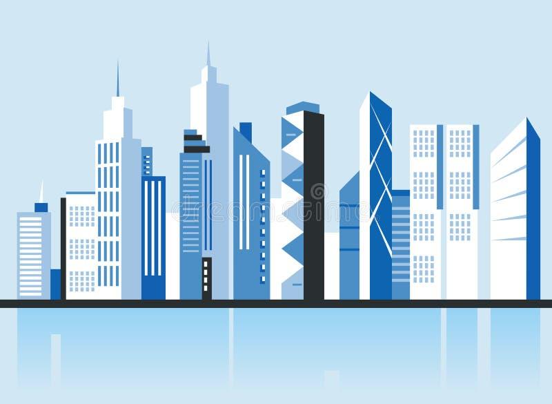 Miasta śródmieścia krajobraz Drapacze chmur w miasteczku Płaska wektorowa ilustracja