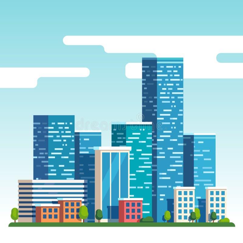 Miasta śródmieścia krajobraz z wysokimi drapaczami chmur ilustracja wektor
