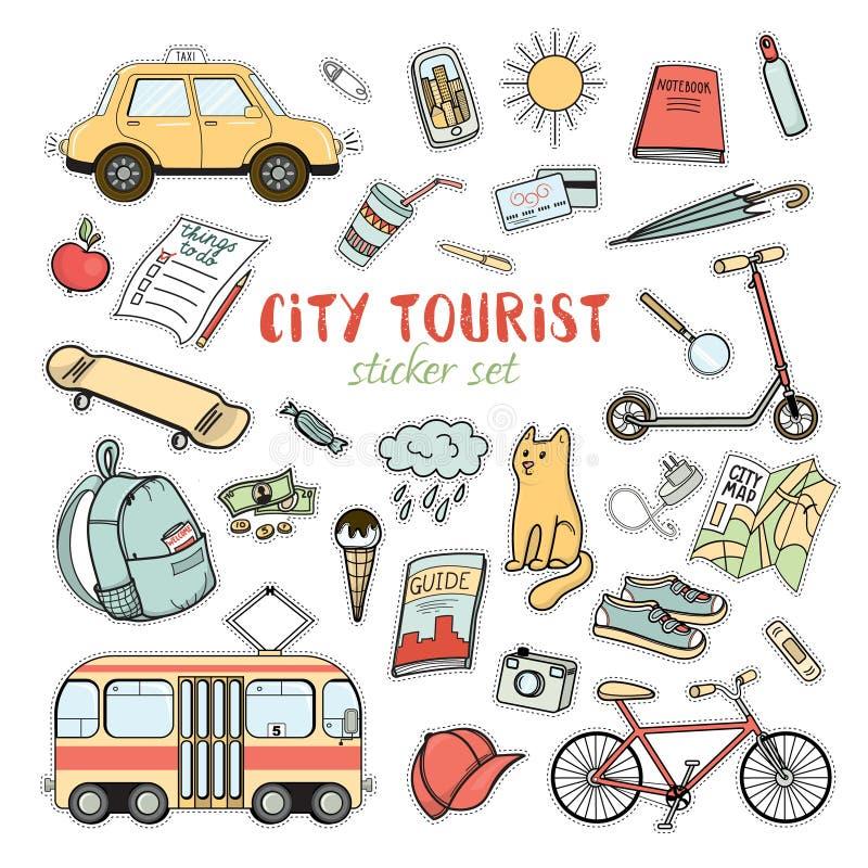 Miasta życia kolorowy majcher ustawiający ręka rysująca doodles ilustracja wektor
