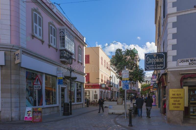 Miasta życie przy główną ulicą, Gibraltar fotografia royalty free