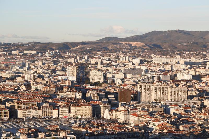 Miasta airview mapa w Marseilles obraz stock