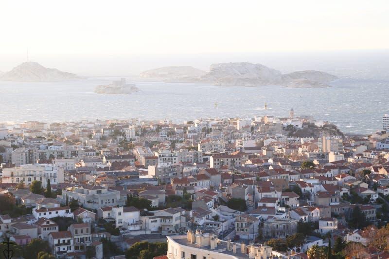 Miasta airview mapa w Marseilles fotografia royalty free