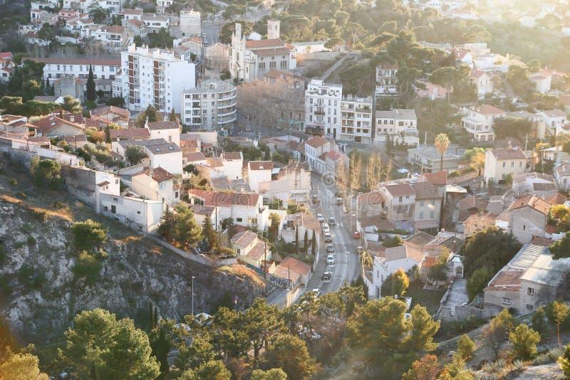 Miasta airview mapa w Marseilles obrazy royalty free