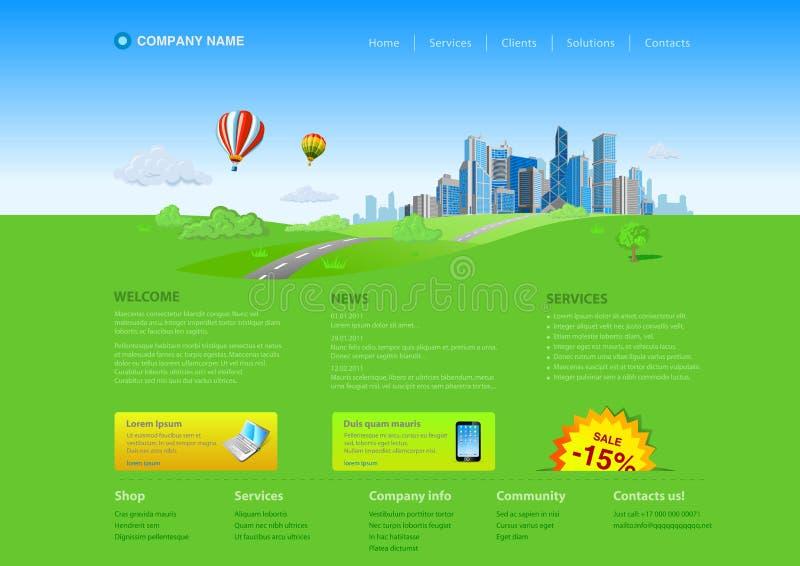 miasta drapacz chmur szablonu strona internetowa ilustracji