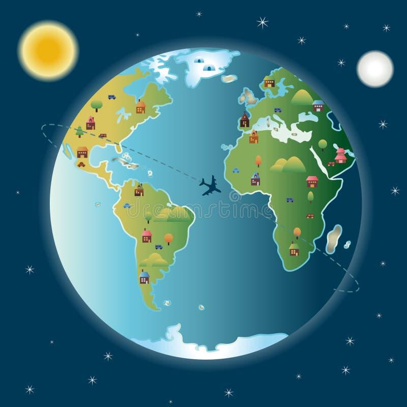 miasta dzień noc świat ilustracji