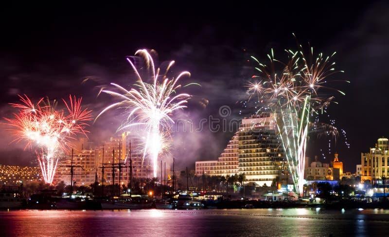miasta eilat świąteczni fajerwerki Israel obraz stock
