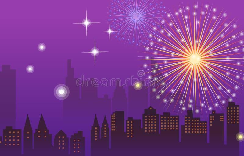 miasta fajerwerków noc ilustracja wektor