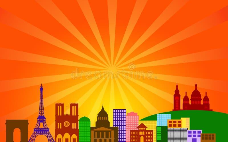 miasta France panoramy Paris linia horyzontu royalty ilustracja