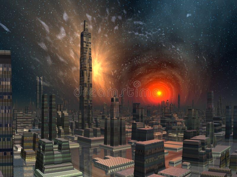 miasta futurystyczny quasar linia horyzontu wierza ilustracji