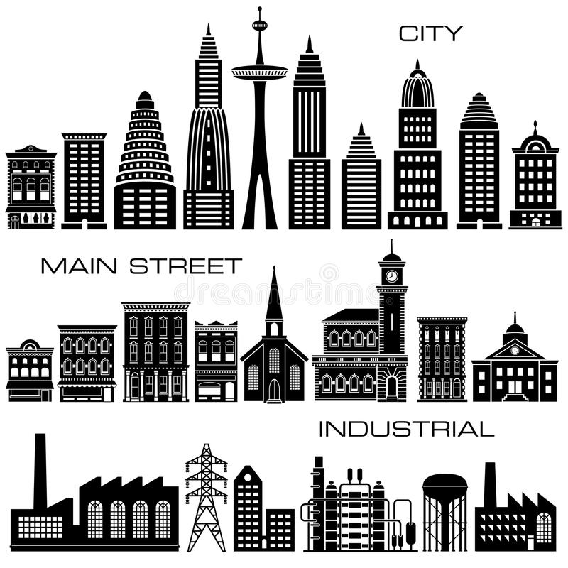 24 miasta, głównej ulicy i Przemysłowych budynków ikon set, royalty ilustracja