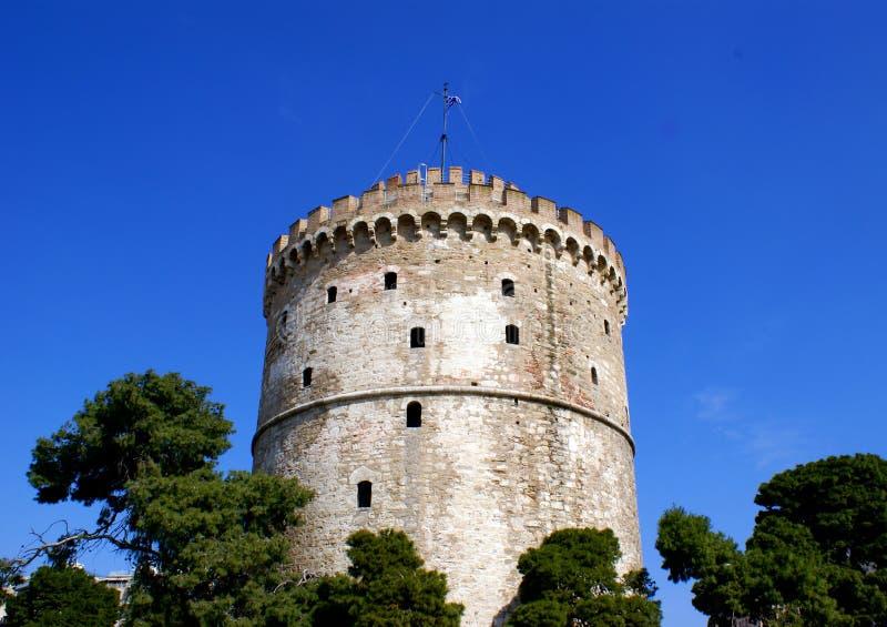 miasta Greece Thessaloniki basztowy biel zdjęcie stock