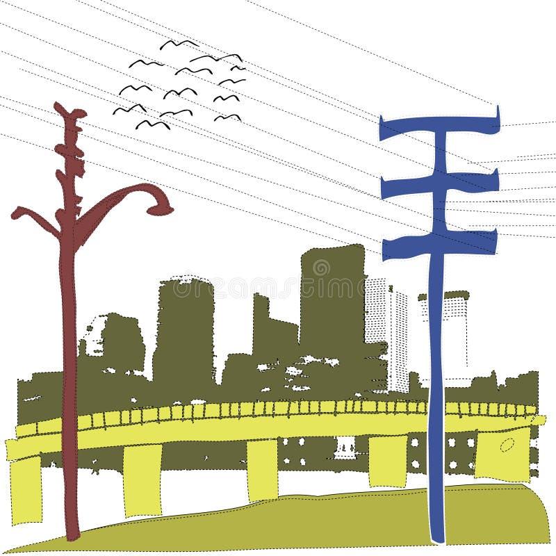 miasta grunge scena ilustracji