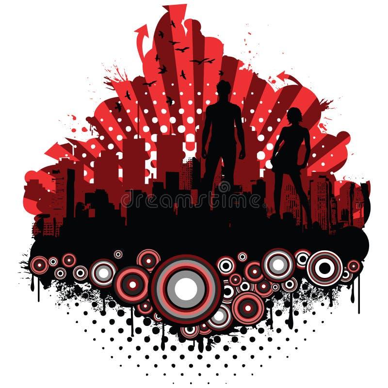 miasta grunge sylwetki ilustracja wektor
