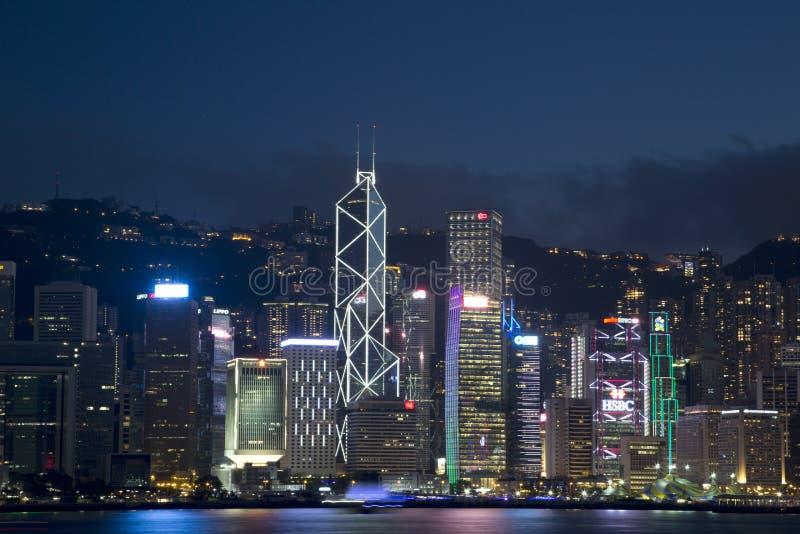 Miasta Hongkong linii horyzontu nocy Porcelanowe sceny obraz royalty free