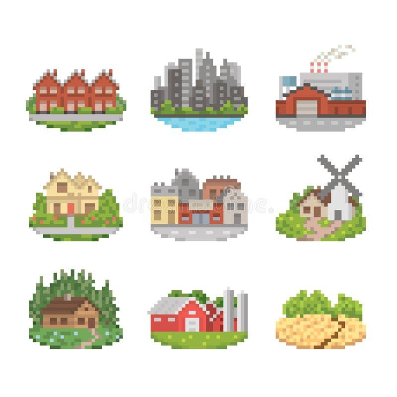 Miasta I miasteczka ikony set ilustracja wektor