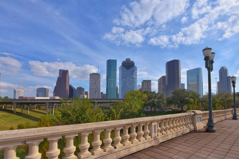 Miasta linia horyzontu w centrum Houston obrazy royalty free
