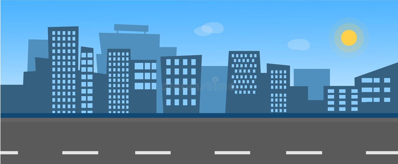 Miasta linia horyzontu z ulicą royalty ilustracja
