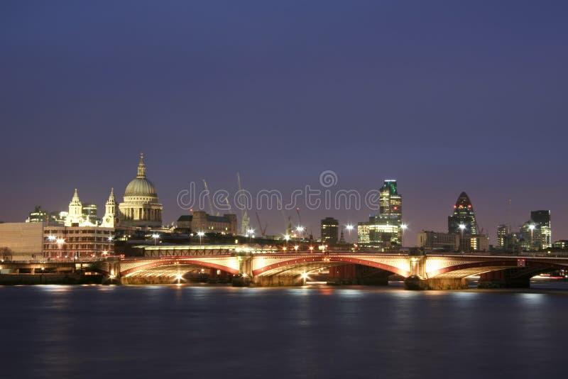 Miasta London Noc Rzeka Thames Obrazy Royalty Free