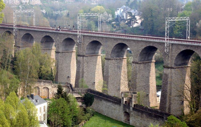 miasta Luxembourg pulvermuhle kolei wiadukt obraz royalty free