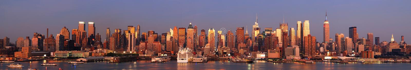 miasta Manhattan nowa panoramy linia horyzontu York zdjęcia royalty free