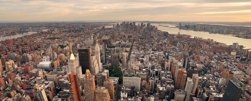 miasta Manhattan nowy panoramy linia horyzontu zmierzch York fotografia royalty free
