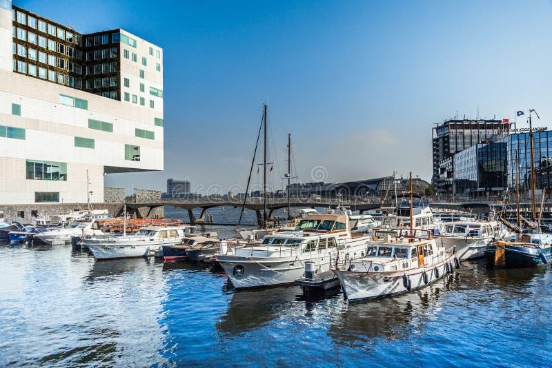 Miasta Marina Ijdock w Amsterdam obraz stock